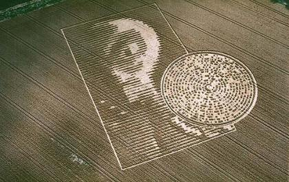 Alien Face Crop Circle http://godssecret.wordpress.com/2009/06/01/the-crabwood-farm-house-crop-circle/